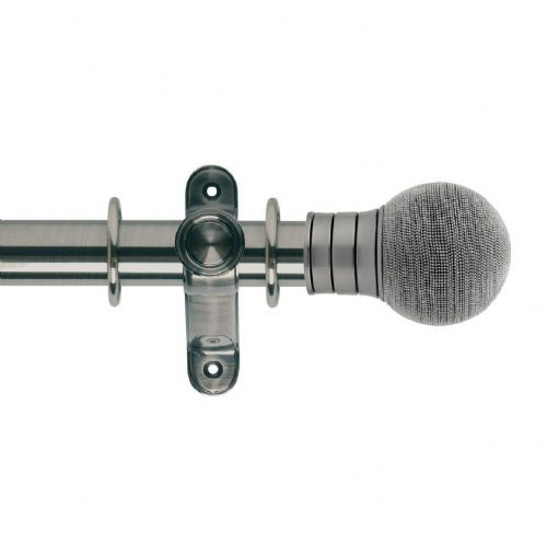 Galleria Beaded Ball 35mm Metal Curtain Pole - Brushed Silver